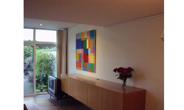 kunst, Georges Meurant, olie op paneel, abstract, art work, privé, Hasselt, dressoir, art work, kleurrijk